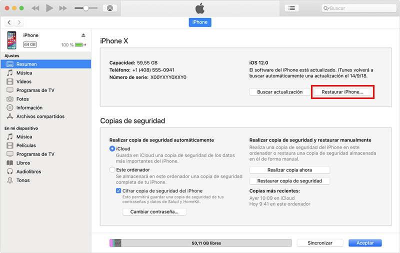 restaurar ipad con itunes