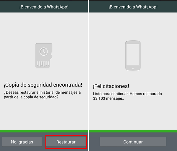 se ha encontrado copia de seguridad de WhatsApp
