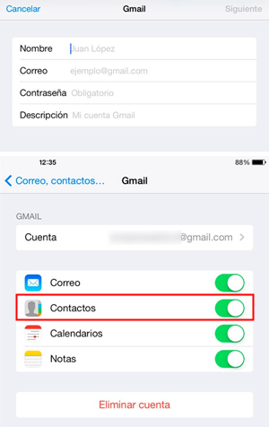 sincronizar contactos con Gmail en iPhone