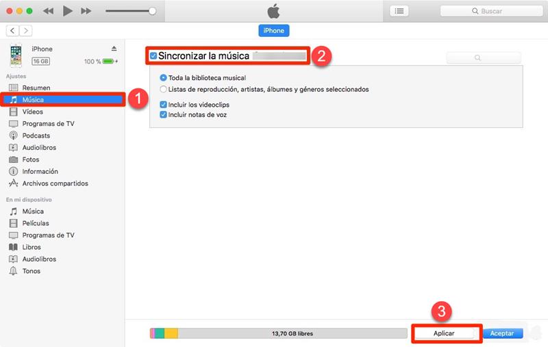 sincronizar archivos con iTunes
