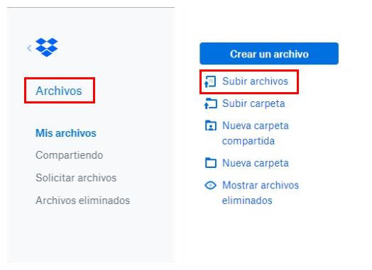subir archivos a Dropbox