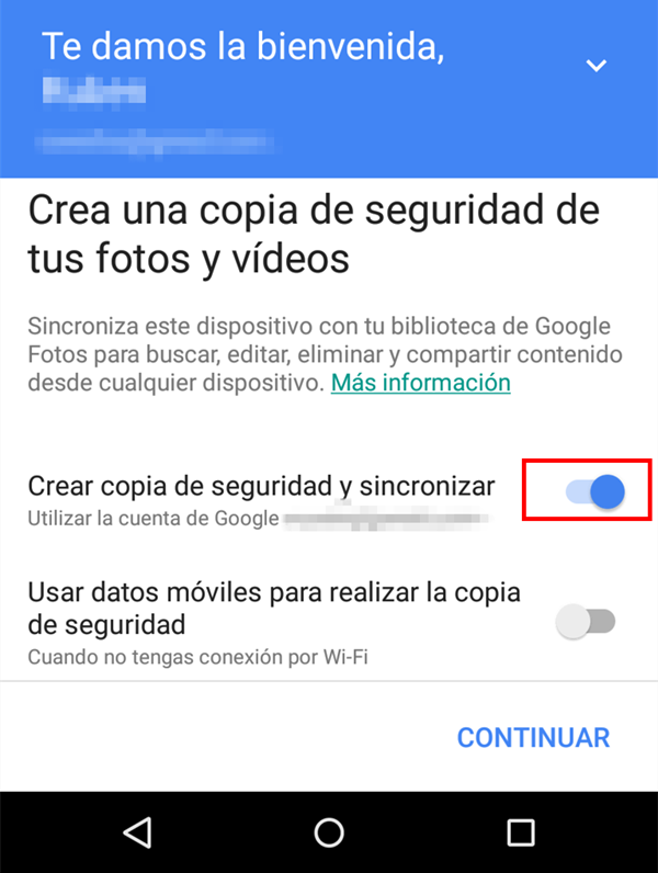 google fotos - crear copia de seguridad