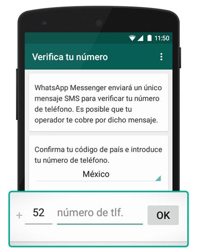 verificar número de teléfono en WhatsApp en Android