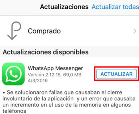 ios12whatsappproblemas y soluciones-Actualiza WhatsApp