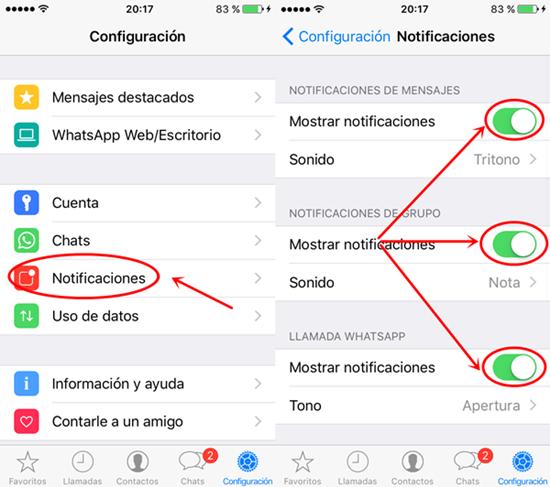ios12whatsappproblemas y soluciones-Revisa opción de notificaciones