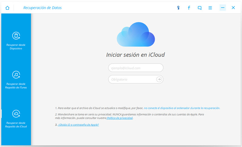 step 1 to recover data from iCloud by Dr.Fone