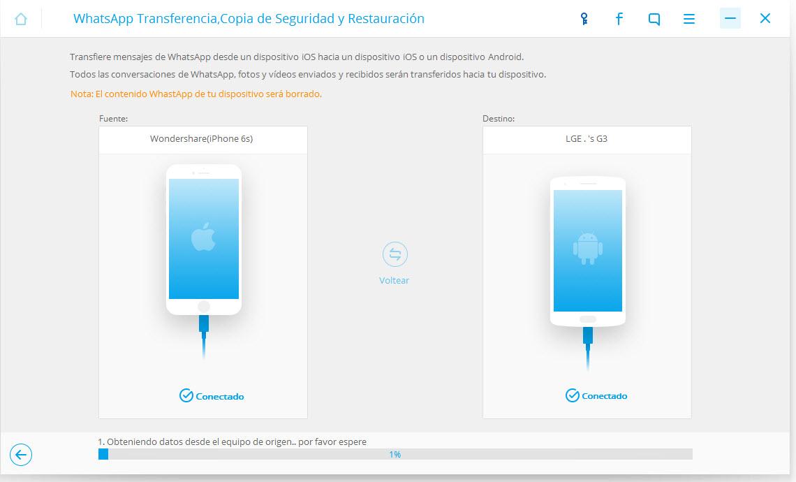 transportar mensajes de WhatsApp a 7 iphone