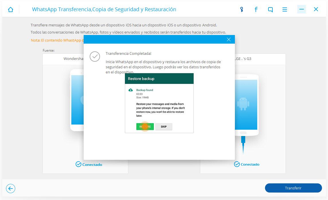 backuptrans android transferencia de whatsapp a iphone