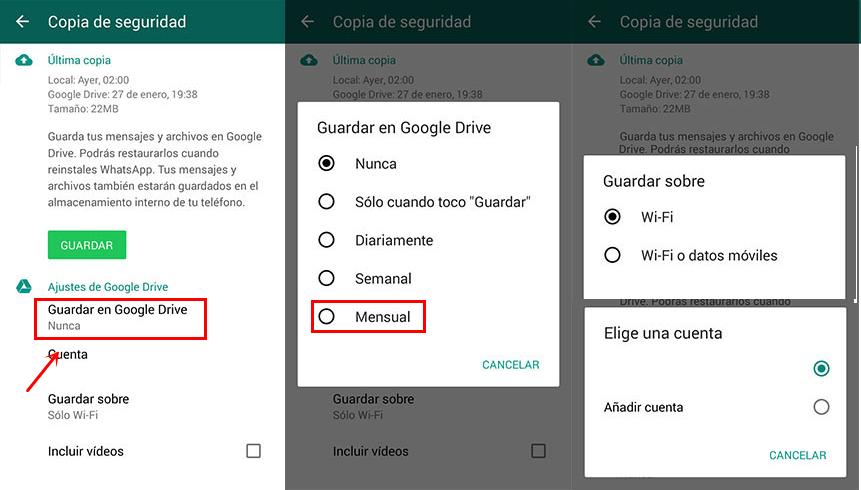 Respaldo de WhatsApp en Google Drive