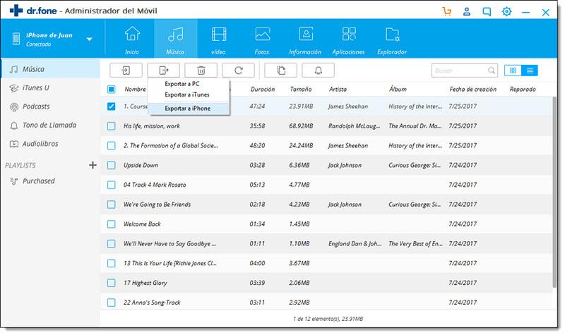Transferir música del iPad al iPhone usando dr.fone - Transferencia - Paso 3: seleccionar y exportar las canciones al iPhone