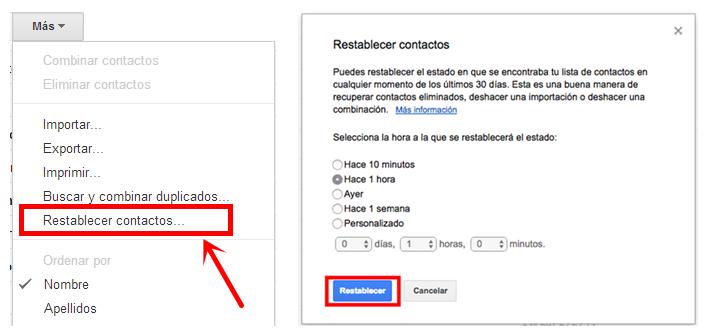 Restaurar Contactos de Gmail