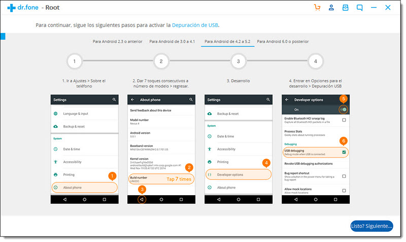 Activar Depuración USB en Android 4.2-5.1