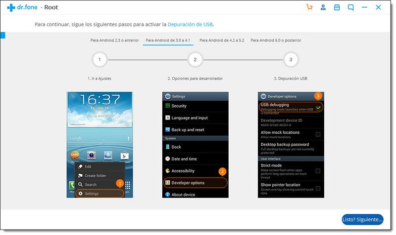 Activar Depuración USB en Android 3.0-4.1