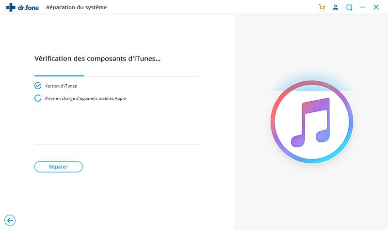 Réparation iTunes,vérifier vos composants iTunes