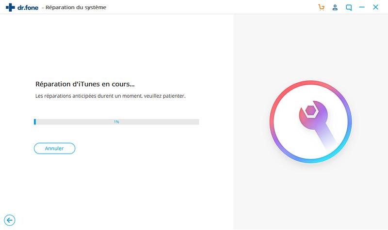 Réparation iTunes en utilisant dr.fone