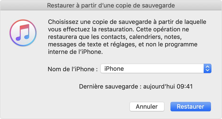 sélectionnez un paquet pour restaurer la sauvegarde de WhatsApp