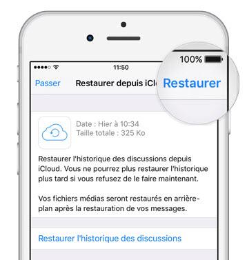 restaurer l'iphone de sauvegarde de whatsapp d'icloud