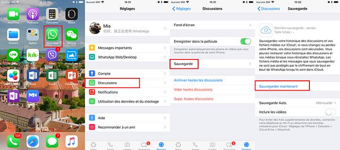 Transfert WhatsApp vers un nouvel iPhone via la sauvegarde WhatsApp sur iCloud