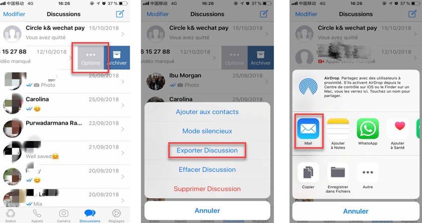Sauvegarde des conversations iPhone WhatsApp par email