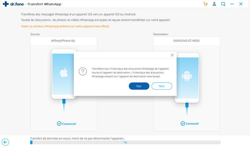 transférer whatsapp messages entre 2 téléphones Android