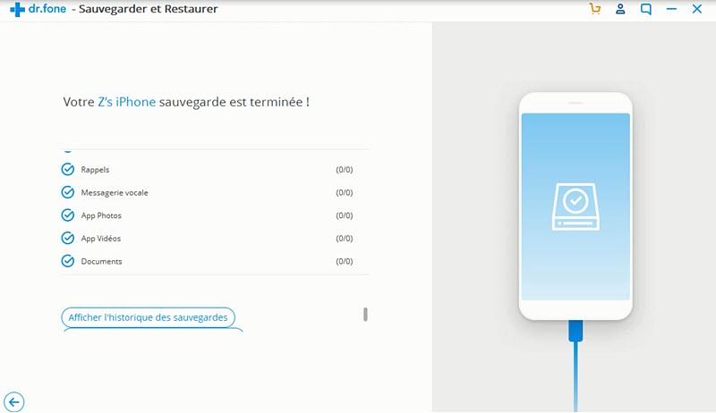 sauvegarde iphone complète