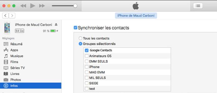 Transférez les contacts iPhone vers Gmail en utilisant iTunes
