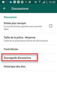 sauvegarde des messages WhatsApp