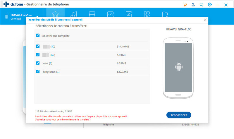 synchroniser itunes à android-transfert