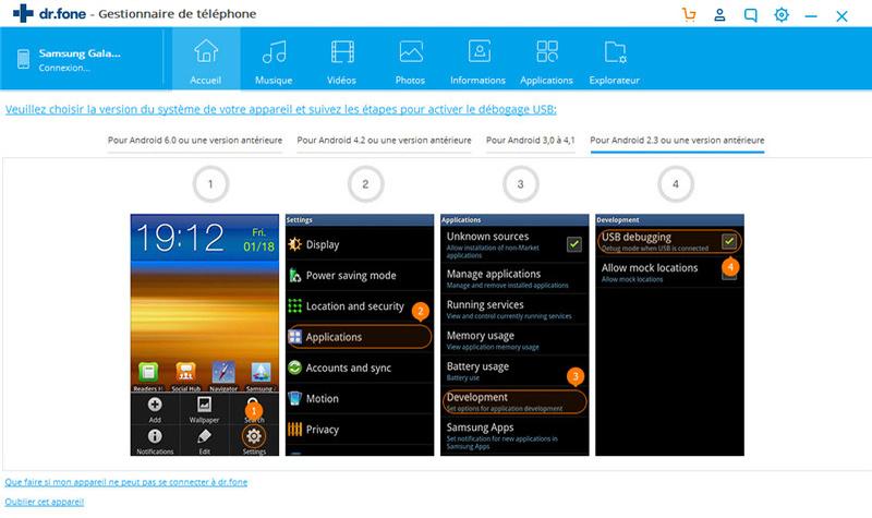 activer le débogage USB sur Android 2.0-2.3