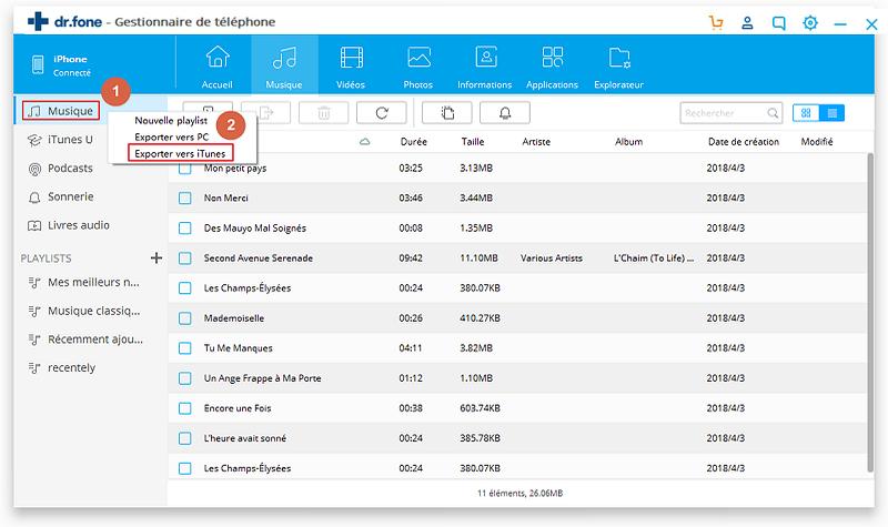 exporter musique iphone vers iTunes