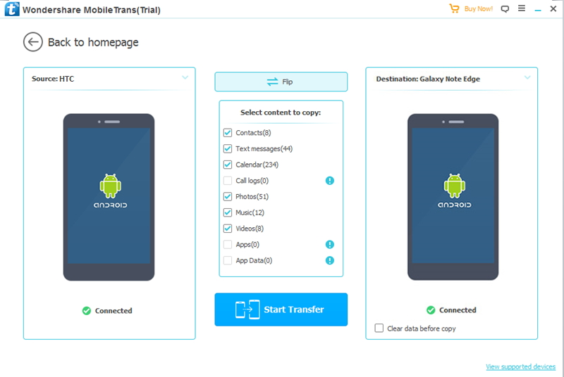 Connecter des appareils pour transférer des fichiers de HTC vers Samsung