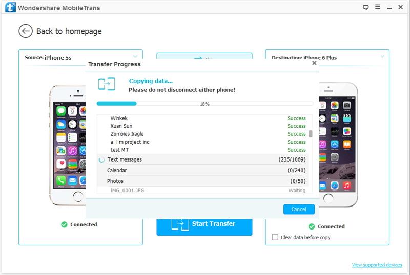 Transfert de l'iPhone vers l'iPhone 7