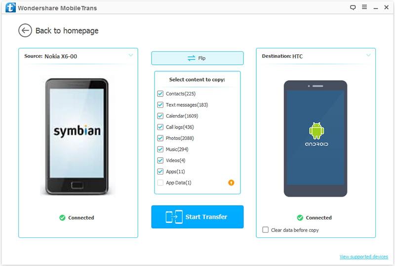 Commencer à transférer des contacts de Nokia à HTC