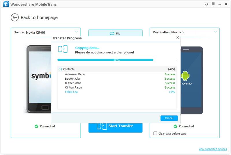 Transfert de contacts de Nokia vers Nexus 5 terminé