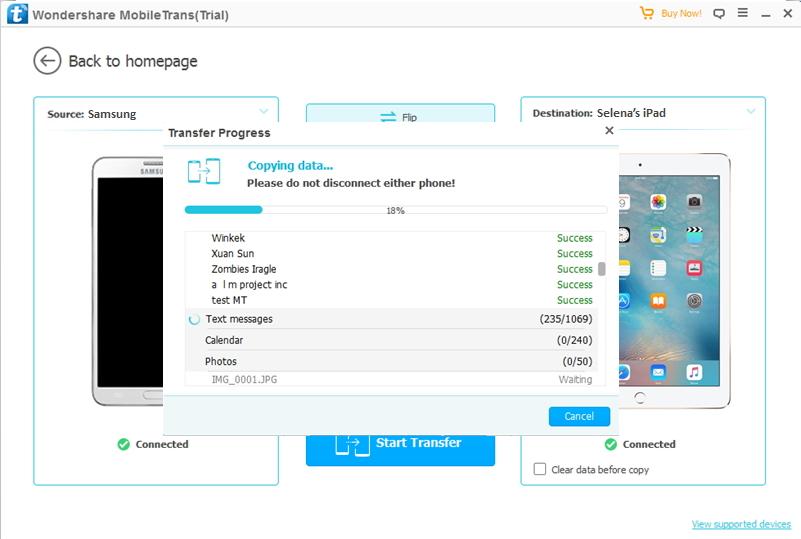 transférer de Samsung vers iPad