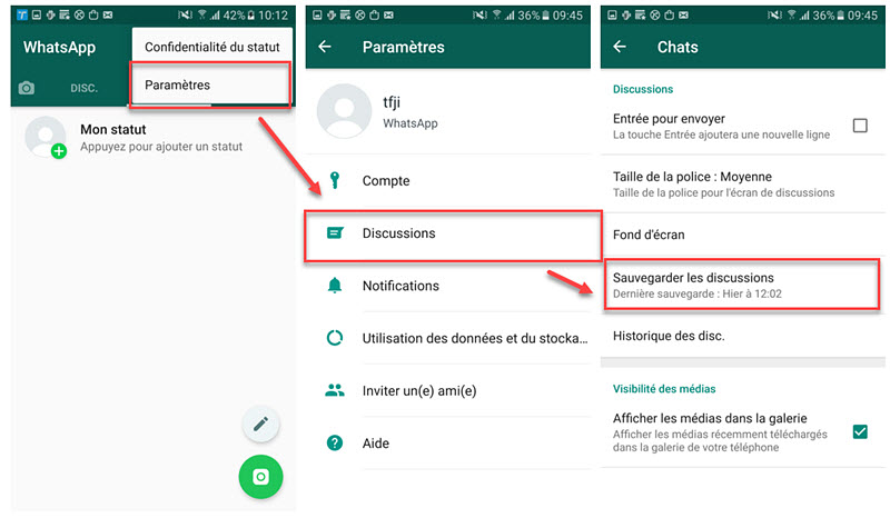 recuperer conversation whatsapp android