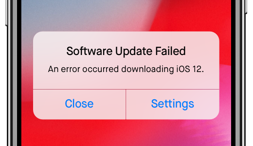 ios 12 problem - software update fails