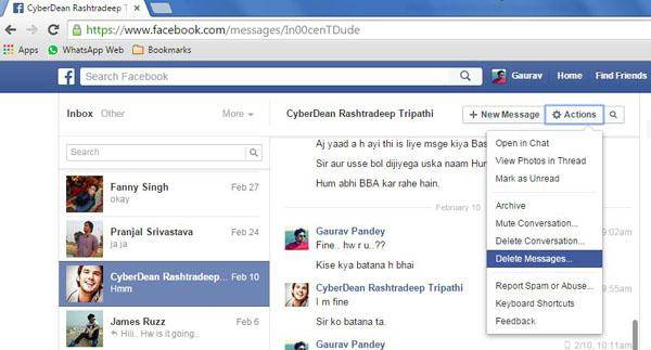 come eliminare i messaggi di facebook