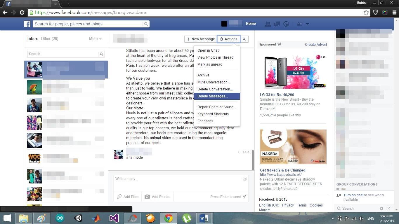 operazioni per eliminare i messaggi di facebook