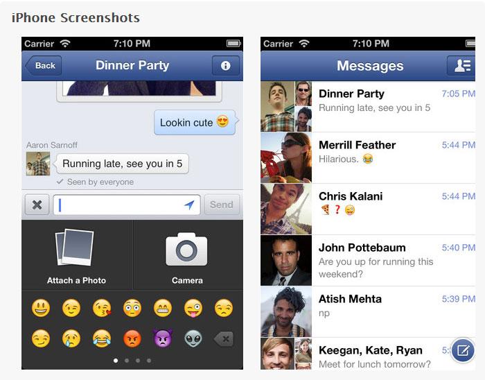 come inviare facebook messenger messaggi foto video su ios