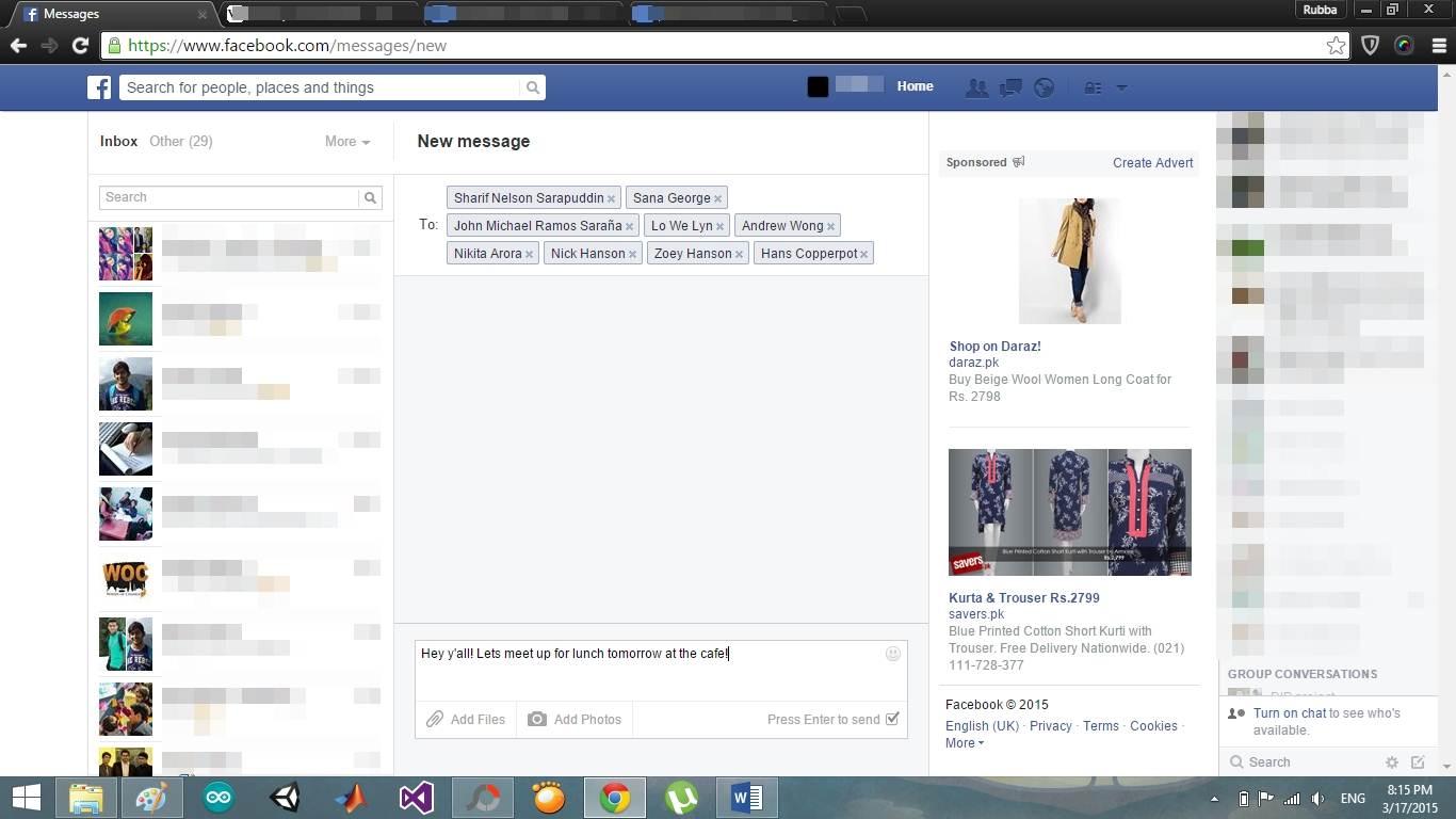 procedura per inviare messaggi su facebook facebook
