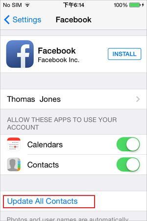 sincronizzazione dei contatti di facebook con iphone tramite le impostazioni