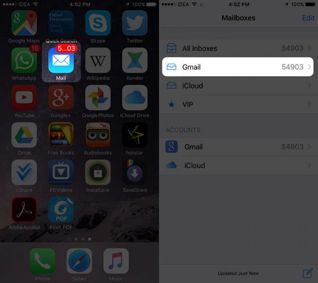 come risparmiare email allegato da mail app per icloud unita