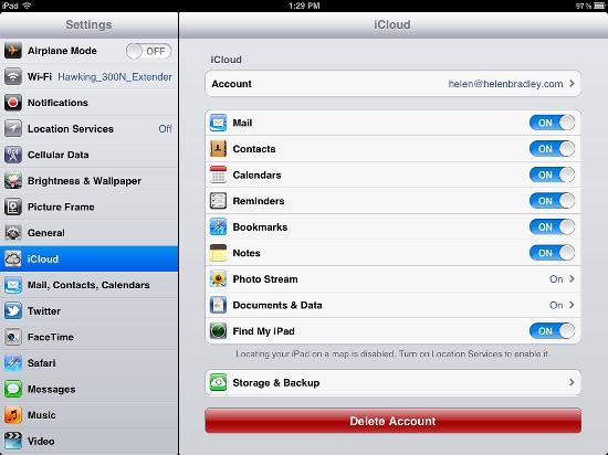 modificare l account icloud