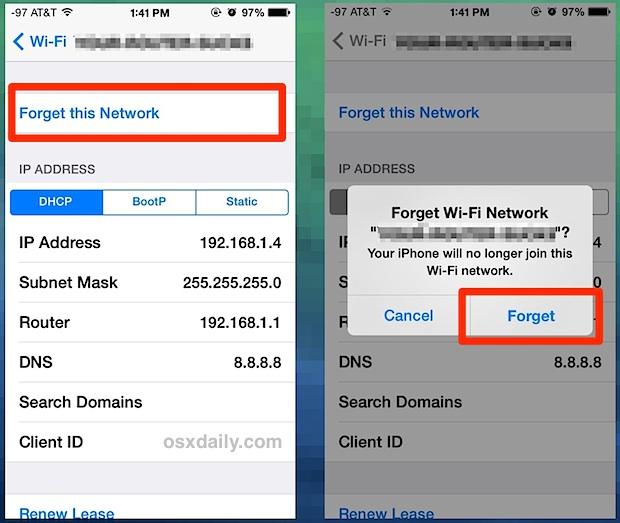 dimenticare la rete