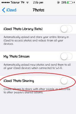 come configurare icloud photo sharing