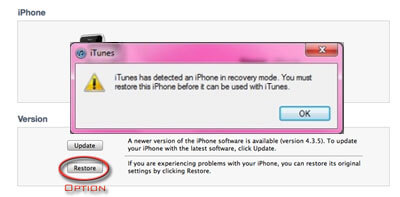 risolvi il problema di iphone bloccato in recovery mode con itunes