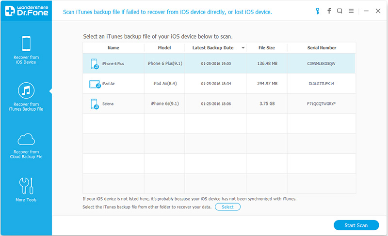 come visualizzare il backup di itunes da dr fone