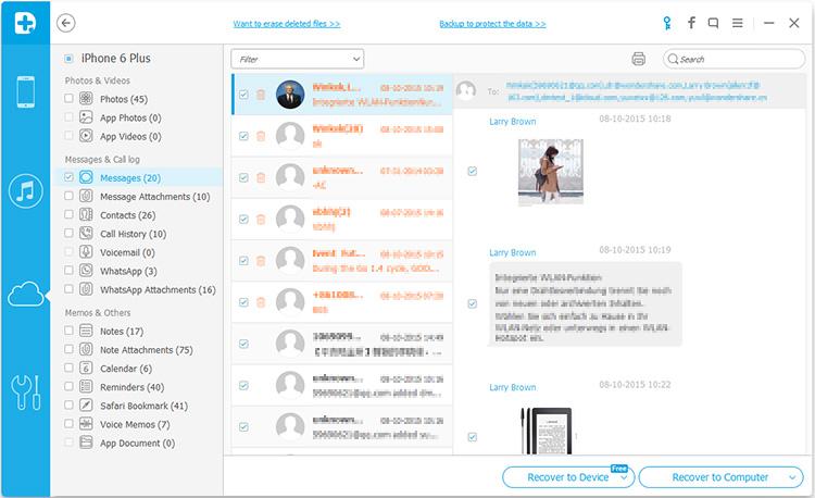 leggere messaggi di testo di iphone su un computer