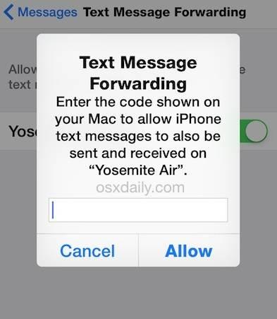 abilita il message forwarding per ricevere ed inviare messaggi su ipad e mac